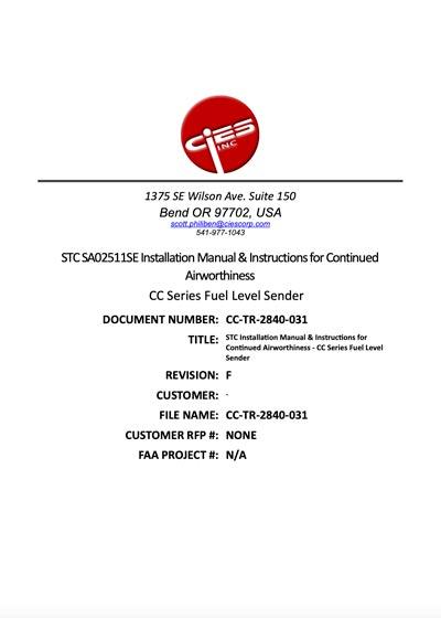 CiES CC Series Installation Instructions